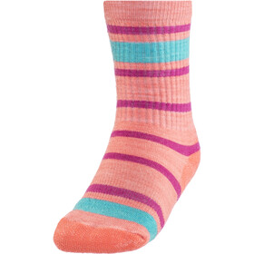 Smartwool Striped Hike Light Crew Socks Kids bright coral